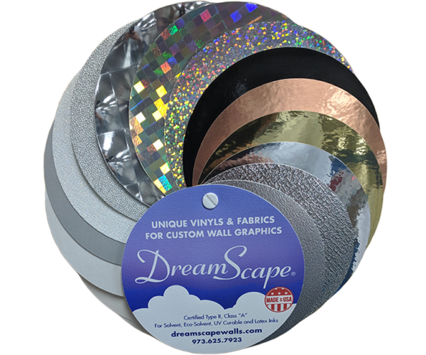 DreamScape wallcovering material sample ring set for designers and printers.