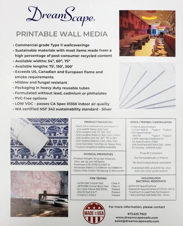 Brochure Back Dreamscape- specs and certification
